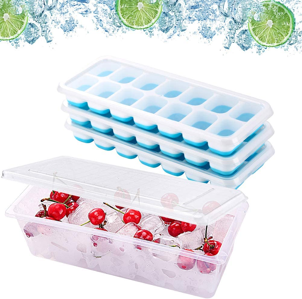 Ice Cube Trays 3 Pack with Container, Storage Bin with lid, Stackable Easy-Release Ice Trays with lids, ice holder for Freezer, Save Space, Easy to Use, BPA Free, Cool Drinks Wine.