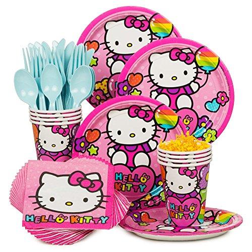 Costume Supercenter BBKIT862 Hello Kitty Rainbow Birthday Party Standard Tableware Kit