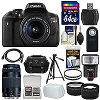 Canon EOS Rebel T6i Wi-Fi Digital SLR Camera & 18-55mm is STM & 75-300mm III Lens + 64GB Card + Case + Filters + Tripod + Flash + Tele/Wide Lens Kit