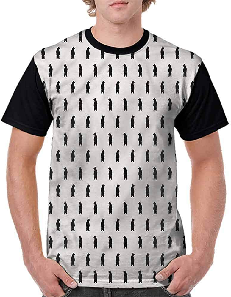 Loose T Shirt,Black Bear Silhouettes Fashion Personality Customization