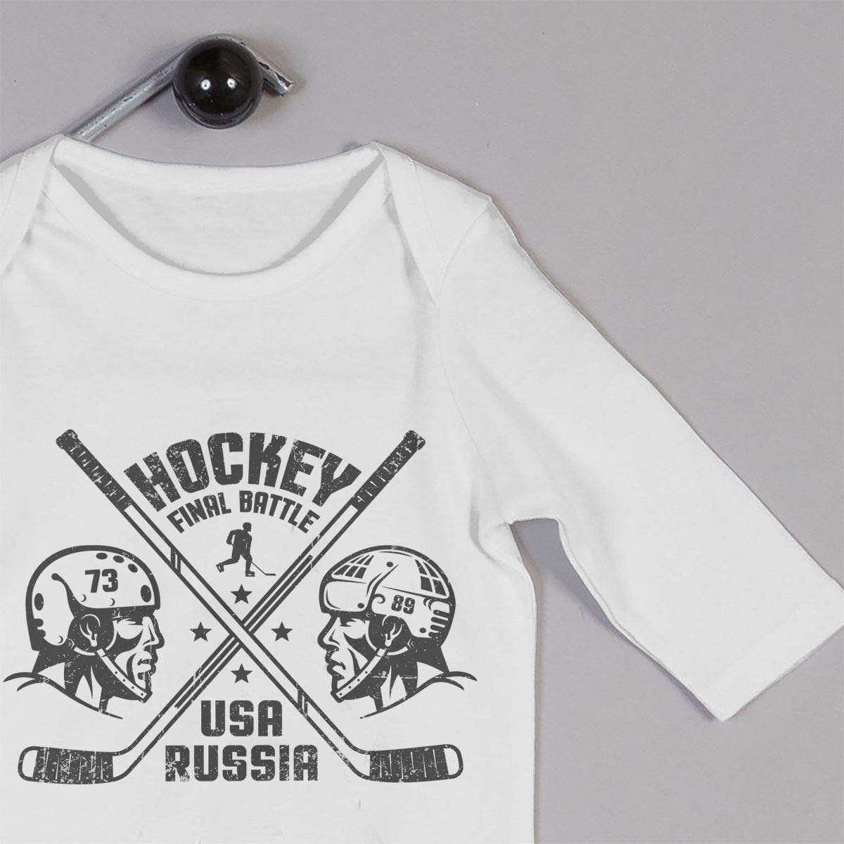 Baby Boy Girl Round Neck Long-Sleeve Solid Color Onesie Two Hockey Players Crawling Clothes