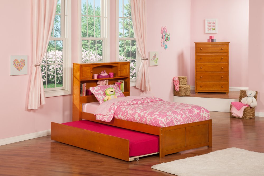 Newport Bookcase Bed with Flat Panel Foot Board and Urban Trundle Bed, Twin, Caramel Latte