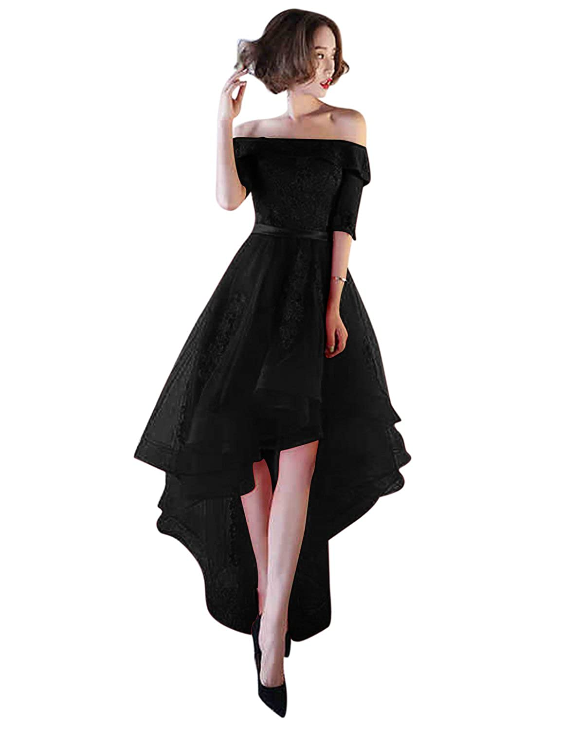 Black BessWedding Women's Tulle High Low Homecoming Dresses Short 2018 Formal Prom Gown BHZ707