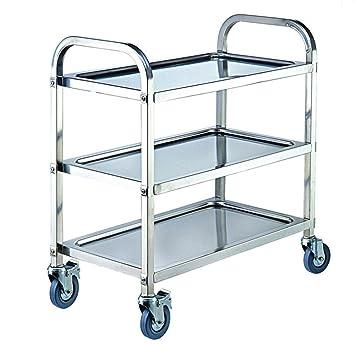Amazon.de: ybaymy 3 Ebenen Mittleren Rolling Trolley Warenkorb ...