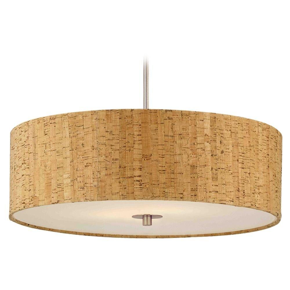 Cork Drum Shade Pendant Light In Nickel Finish Ceiling Pendant