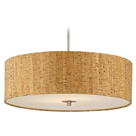 Cork drum shade pendant light in nickel finish ceiling pendant cork drum shade pendant light in nickel finish aloadofball Images