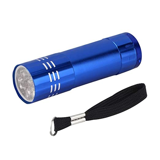 Comomingo Multifunci/ón 9 LED Linterna UV Luz p/úrpura Antorcha de aleaci/ón de aluminio Ahorro de energ/ía L/ámpara port/átil de cheques de papel moneda