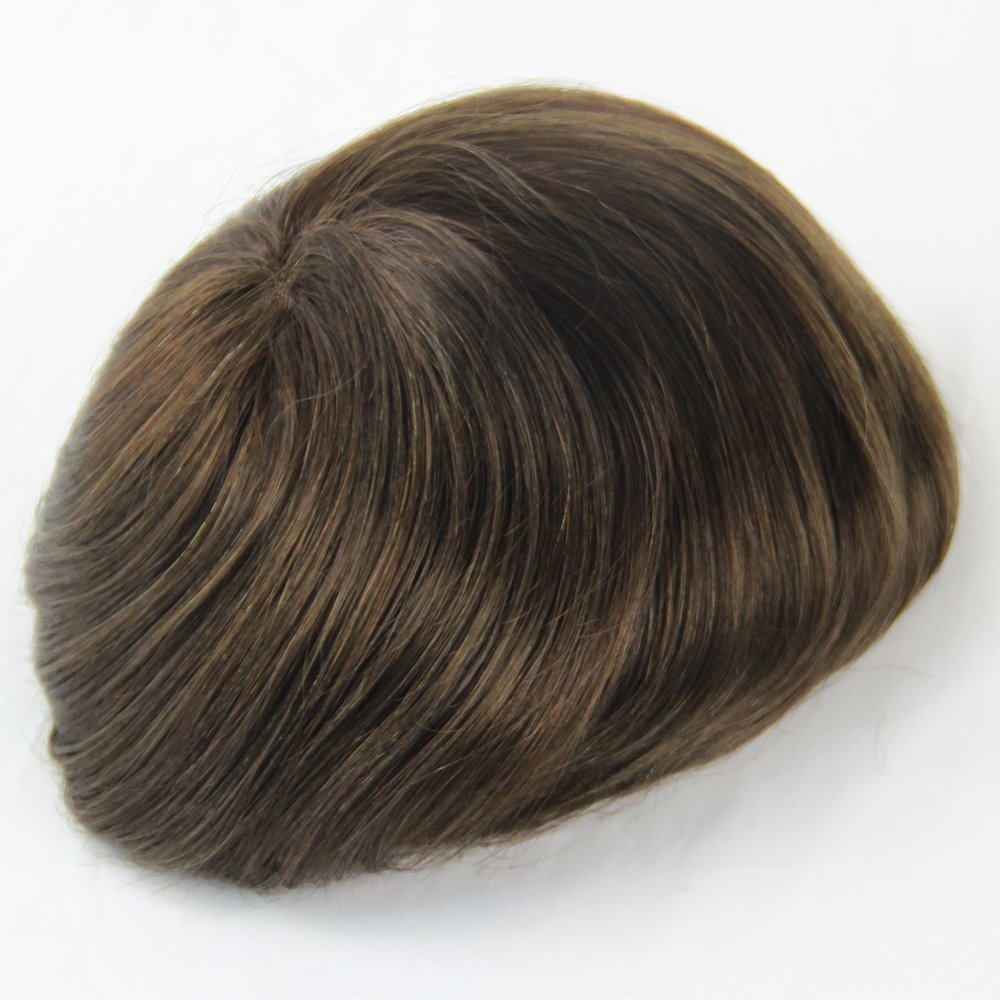 Fabwigs Mens Toupee Wig-6x8 Inch Mono Base Mens Hairpieces Replacement-6 Inch Indian Human Hair (#1 Jet Black)