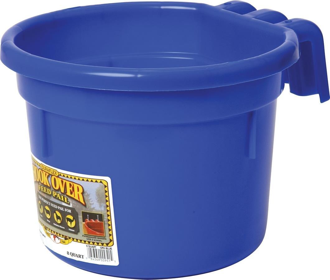 MILLER CO Hook Over Feed Pail, 8 quart, Blue