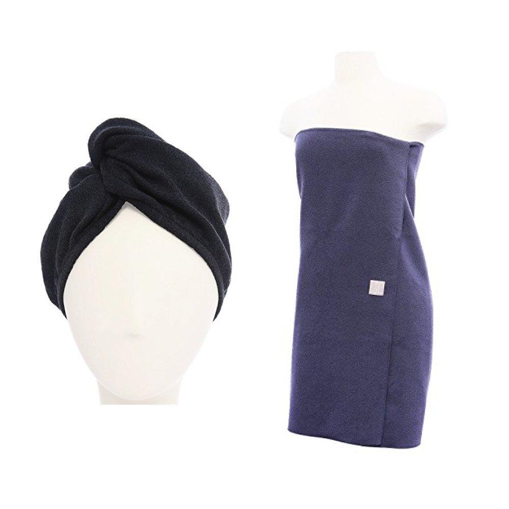 Aquis - Original Microfiber Turban and Towel Set, One Lisse Hair Turban (10'' x 26'') and One Lisse Body Towel (29'' x 55''), Made of Ultra Absorbent & Fast Drying Aquitex Microfiber, Grey