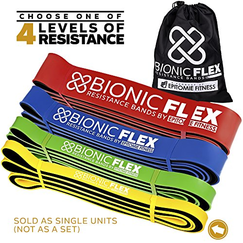 Epitomie Fitness Bionic Flex Pull Up Assist Band – Ultra Durable Resistance Bands for Strength Training Exercise, Physical Therapy, Powerlifting, Stretching by Single Yellow Band (5 to 35 lbs) For Sale