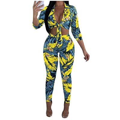 Abetteric Women Long-Sleeve Sexy Knot Front Two Pieces Printed Playsuit Pencil Pants Sets Outfit Light Blue 3XL