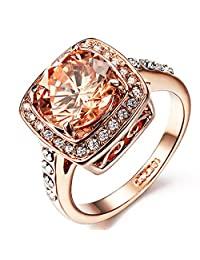 Yoursfs Sparkly 18k Rose Gold Plated Use Austrian Crystal Topaz Engagement Ring for Best Gift