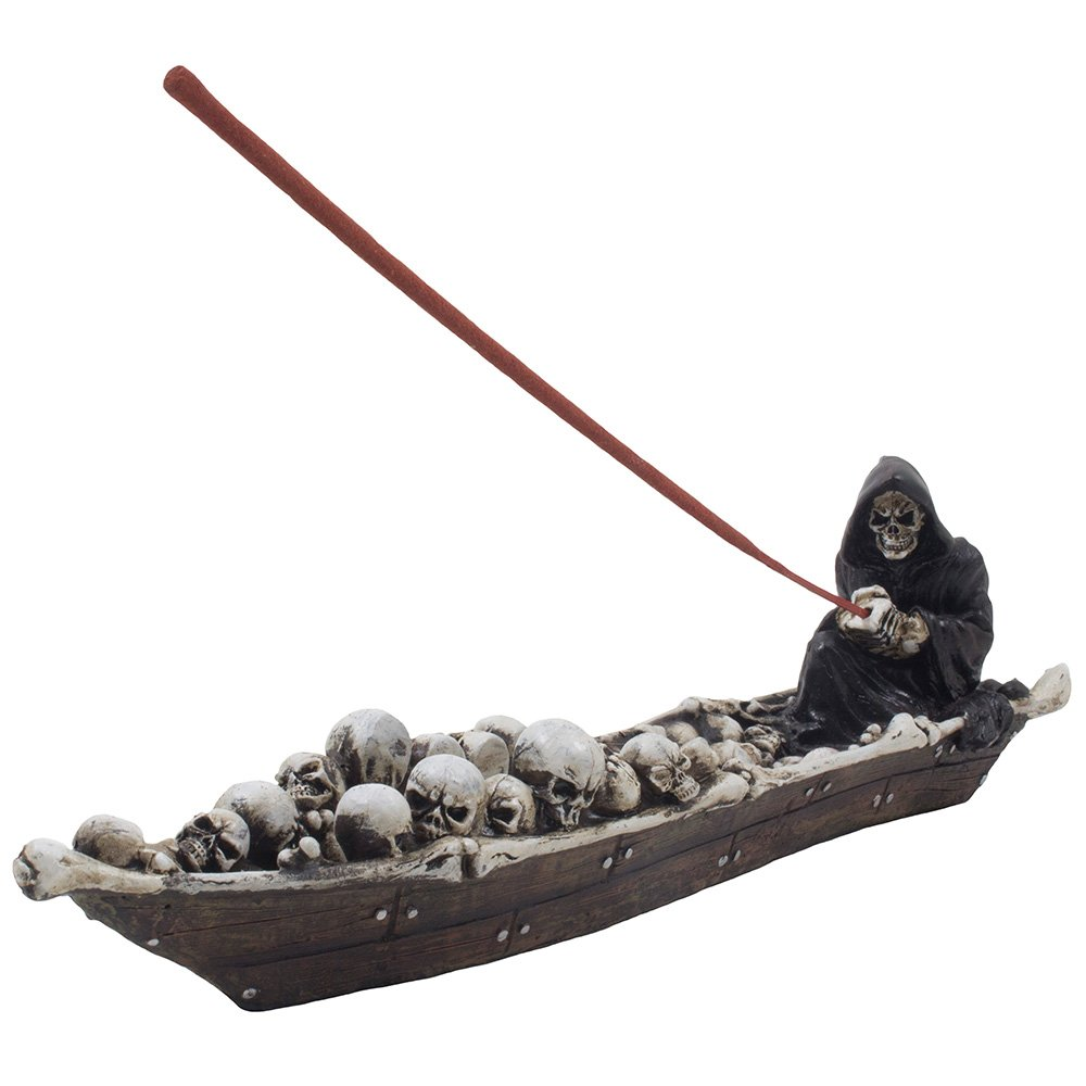 Home-n-Gifts 12-inch Scary Grim Reaper in Fishing Boat of Skulls Incense Holder, Multi-colored by Home 'n Gifts
