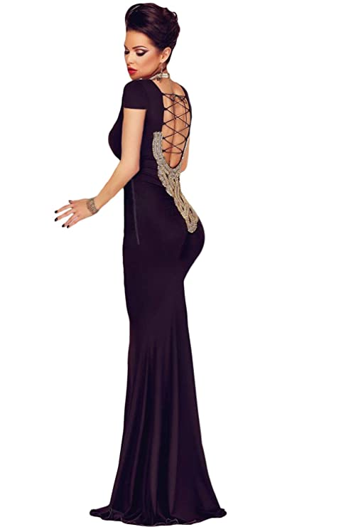 on sale 144ab 5330a Elegante vestito da sera lungo, nero, decorato con perline ...