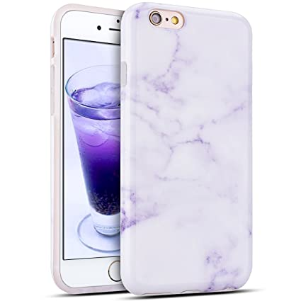 ad16f05e Funda iPhone 6 6s, E-Lush Mármol Suave Silicona TPU Carcasa Ultra Delgado  Flexible Gel Parachoques Goma Mate Opaco Case Cover iPhone 6 Bumper iPhone  ...