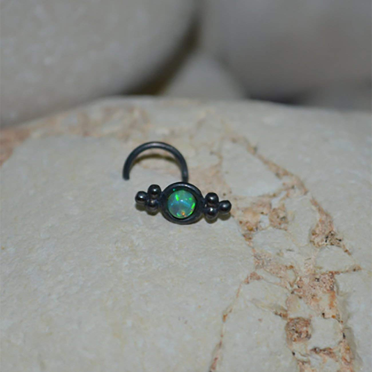3mm Kiwi Green Opal NOSE STUD // Silver Nose Piercing - Helix Jewelry - Cartilage Earring - Tragus Ring - Nose Ring - Conch Jewelry 20g