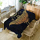 Moslion Psychedelic Universe Holy Science Petrol Blue Apricot Earth Yellow Table Cover 60W X 120L Inches Table Cloth for Dining Table Cloths