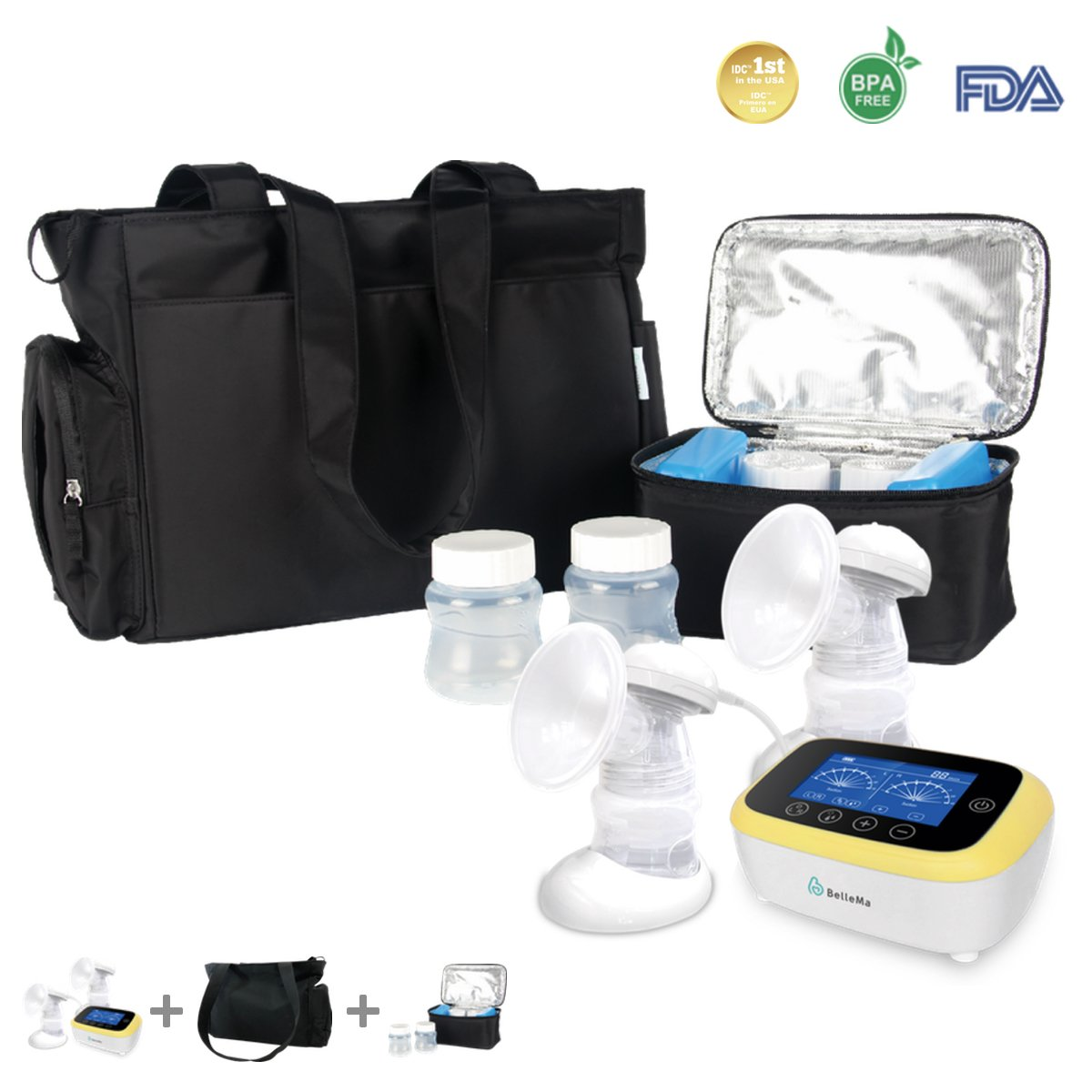 BelleMa S5 Single / Double Hospital Grade Electric Breast Pumps, With IDC ™ technology, Touch Screen Cordless ( Value Pack )