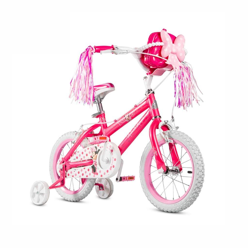 Bici per bambini Bicicletta per Bambini Ragazza Bicicletta 12 14 16 Pollici Passeggino Rosso Mountain Bike Regalo Perfetto (Colore   rosa, Dimensione   14inch(105cm20cm54cm))