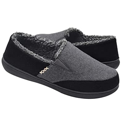 e08a467b4f5ed Zigzagger Men's Wool Micro Suede Moccasin Slippers House Shoes Home  Indoor/Outdoor Footwear