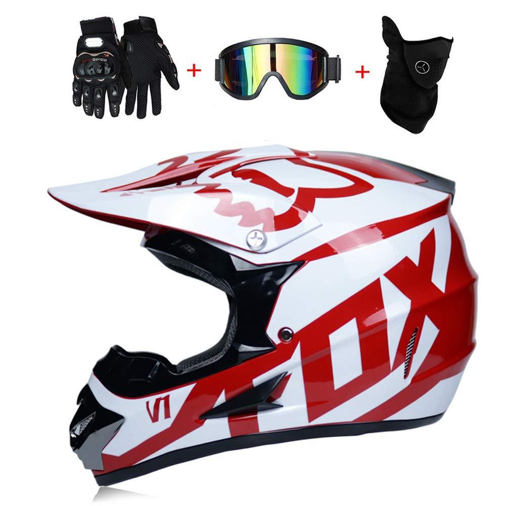 S, M, L, XL ,S55~56CM WanSheng Casco de Motocross para Adultos Casco de Motocicleta MX Casco ATV Scooter ATV Casco Certificado por O.T Fox Rojo con m/áscara de Guantes