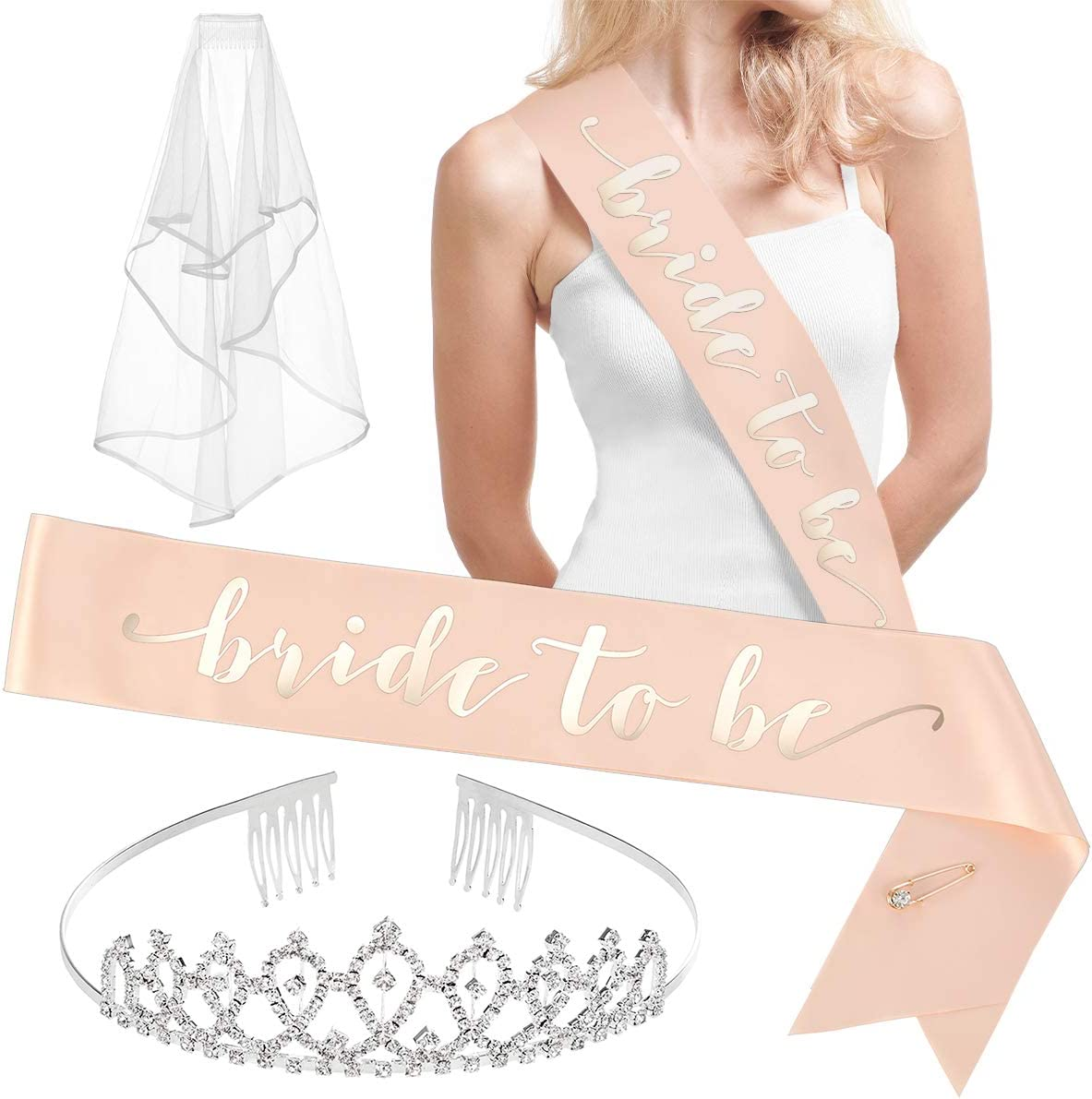 xo, Fetti Rose Gold Pink Bachelorette Party Decorations Kit - Bridal Shower Supplies | Bride to Be Sash, Rhinestone Tiara, Pre-Strung Banner, Veil + Bride Tribe Tattoos: Home & Kitchen
