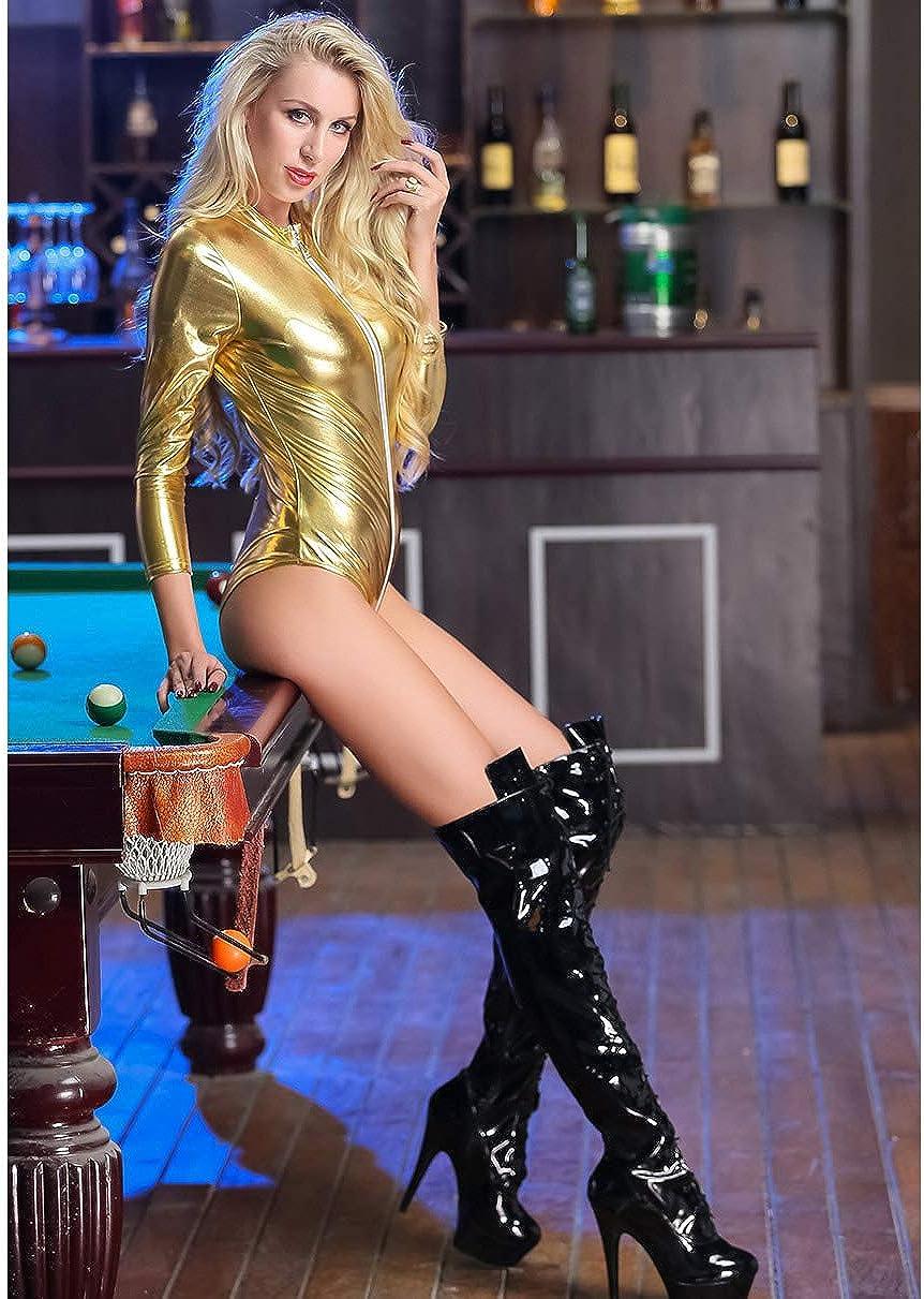 Panegy Combinaisons Femme Body Erotique D/éguisement Soir/ée Costume Catwomen Cool Bar Mati/ère Extensible Latex Sympa Costume Photo Spectacle Danse