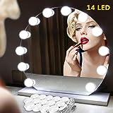 Gluckluz Vanity Mirror Lights Strip Kit Makeup LED Mirror Lighting Hollywood DIY 14 Light Bulb for Women Indoor Home…