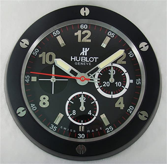 HUBLOT Silent Luminous Sweep Wall Clock, Black+Black: Amazon.co.uk: Kitchen  U0026 Home