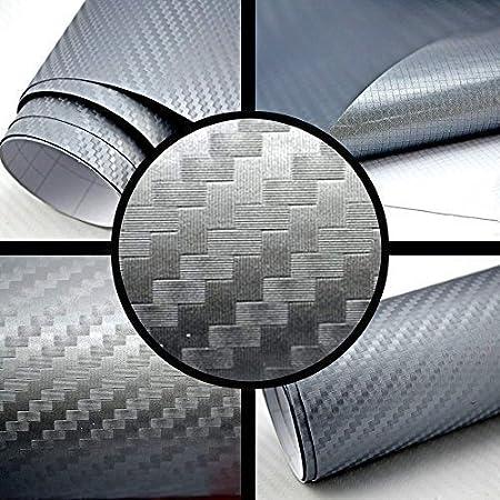 TipTopCarbon 6,57/€//m/² 3D Carbon Folie Silber-grau BLASENFREI 1m x 1,52m mit Luftkan/äle Autofolie selbstklebend