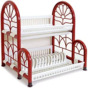 (COLOSSEUM 2 TIER SHELF WITH DISH RACK AND TRAY, Thailand , Red, Size 52 x 41 x 53.5 CM (STP24