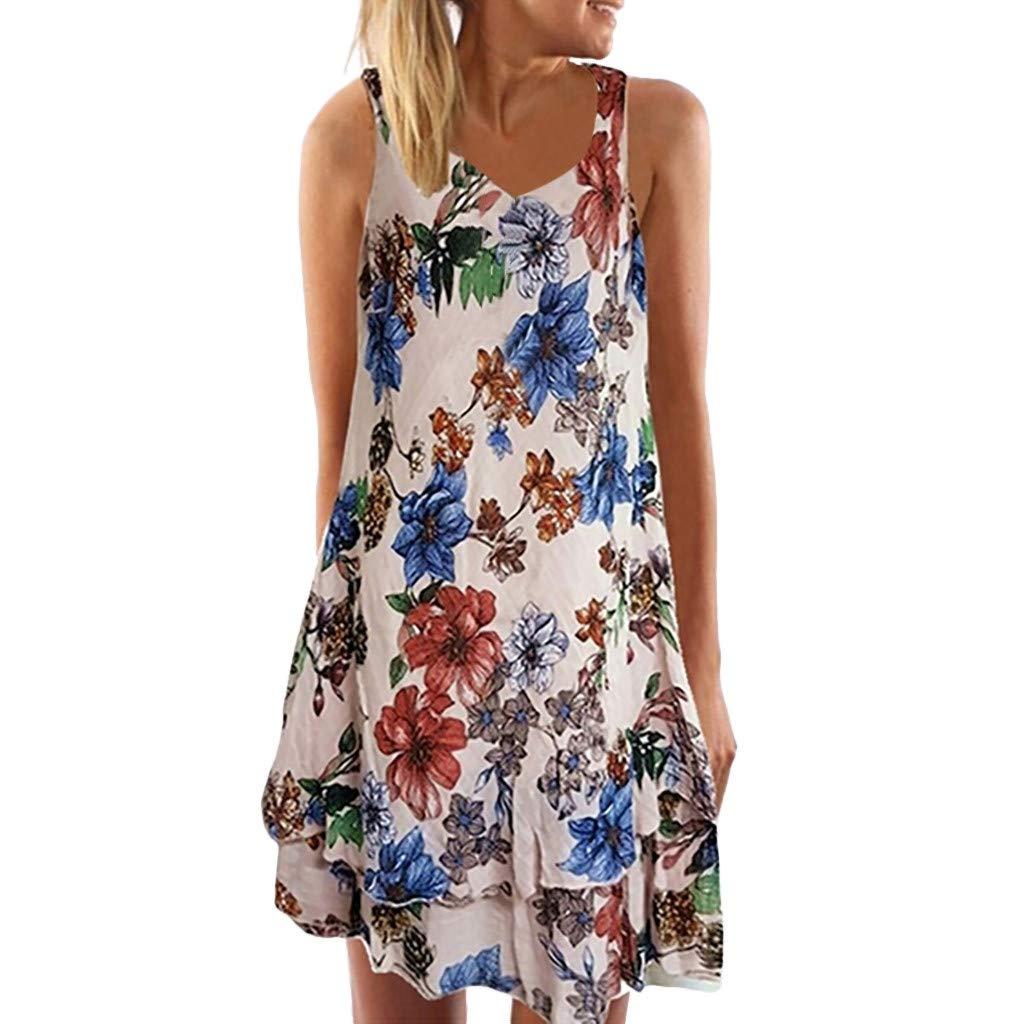 Euone Dress Clearance, Women Summer V Neck Sleeveless Boho Dress Printed Beach Party Mini Dress