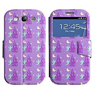 AADes Scratchproof PU Leather Flip Stand Case Samsung Galaxy S3 III i9300 ( Scary Ghost )
