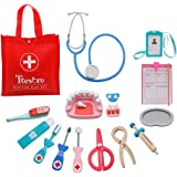 Tresbro Wooden Toys, Medical Kit and Dentist Tool Interactive Toy for Toddlers, Kids, Doctor Pretend Play Set with Stethoscope, Syringe, Scissors, Medical Records, ID Card 15 Pieces