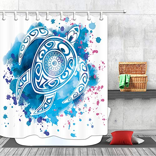 Watercolor Turtle Shower Curtain, Blue Totem sea Animal Ocean Decor Kid Polyester Fabric Shower Curtains Bathroom Curtain Accessories with Hooks 69X70 - Animal Turtle Totem