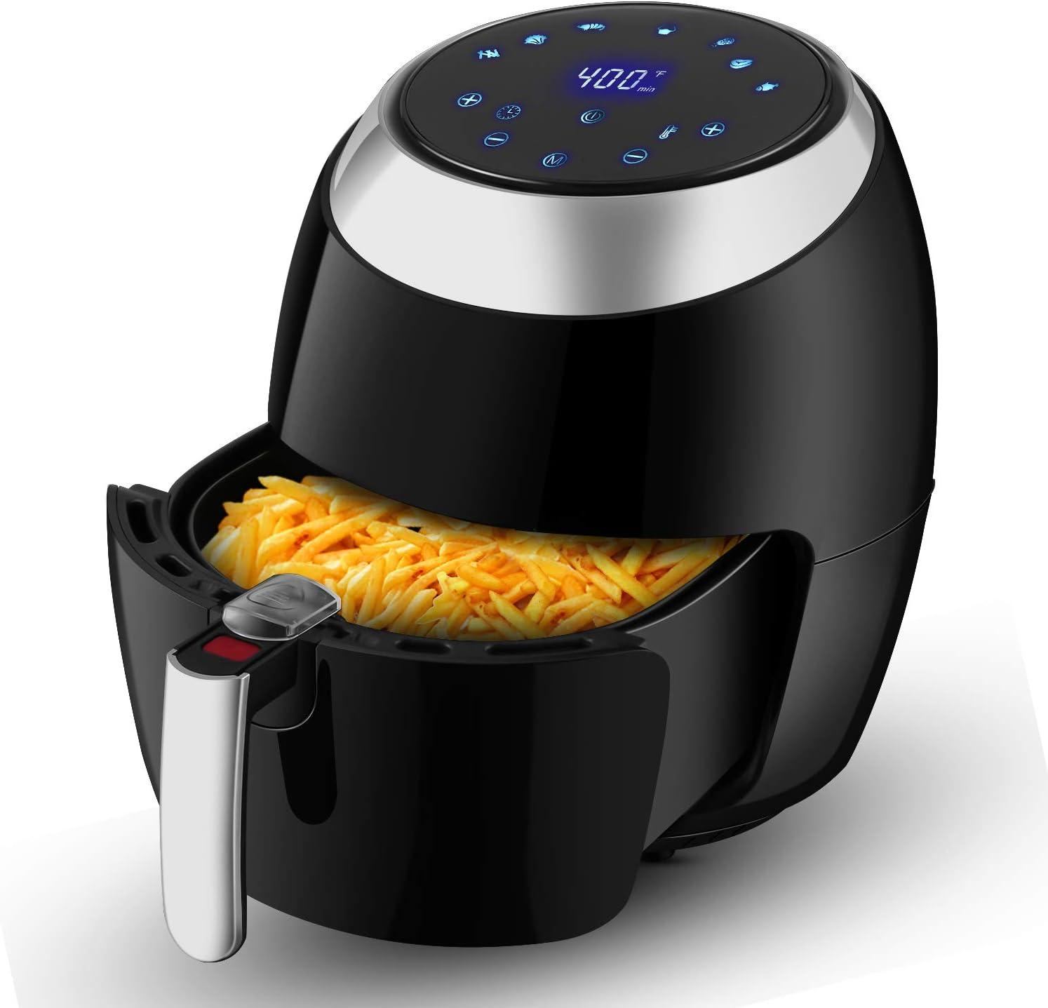 6.8 QT Air Fryer XL, Electric Hot Air Fryers Oven Oilless Cooker with LCD Digital Touch Screen, 1800 Watt (Black