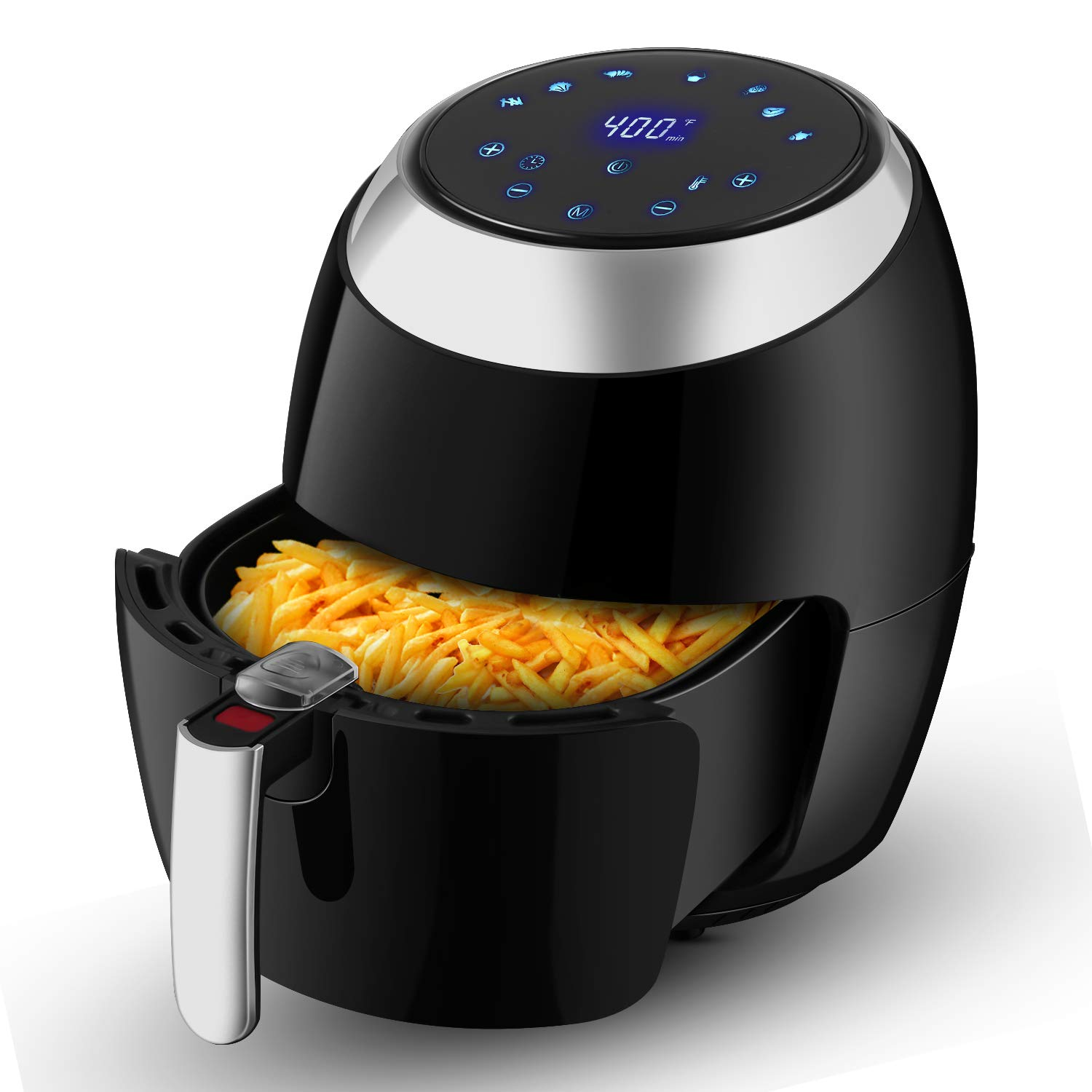 6.8 QT Air Fryer XL, Electric Hot Air Fryers Oven Oilless Cooker with LCD Digital Touch Screen, 1800 Watt Black