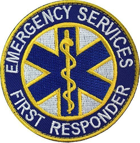 """[Single Count] Custom and Unique (3'' x 3'') Round """"Tactical"""" ''Emergency Services First Responder'' Costume Prop Embroidered Applique Patch {White, Yellow, & Blue Colors} [Licensed] by Patch Squad USA"""