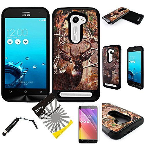 For Asus Zenfone 2E AT&T ITUFFY (TM) 3items Combo: Screen Protector + Stylus Pen + Dual Layer Impact Resistance Hybrid Armor Case (Tree Deer Camouflage Black)
