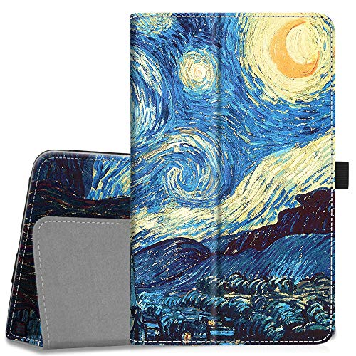 Fintie Folio Case for Samsung Galaxy Tab A 8.0 2018 Model SM-T387 Verizon/Sprint/T-Mobile/AT&T, Slim Fit Premium Vegan Leather Stand Cover, Starry Night