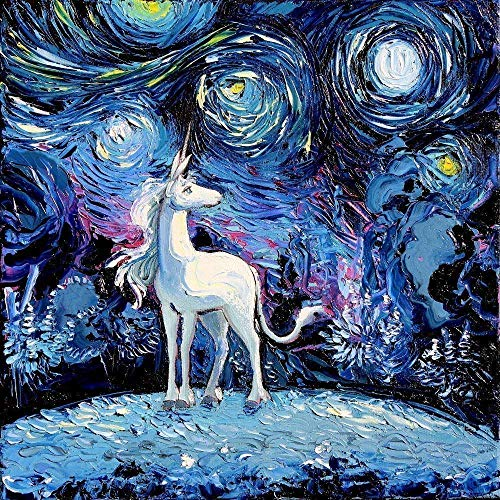 Unicorn Art Fantasy Starry Night Fine art print van Gogh Never Saw The Last Artwork by Aja choose size and type of paper ()