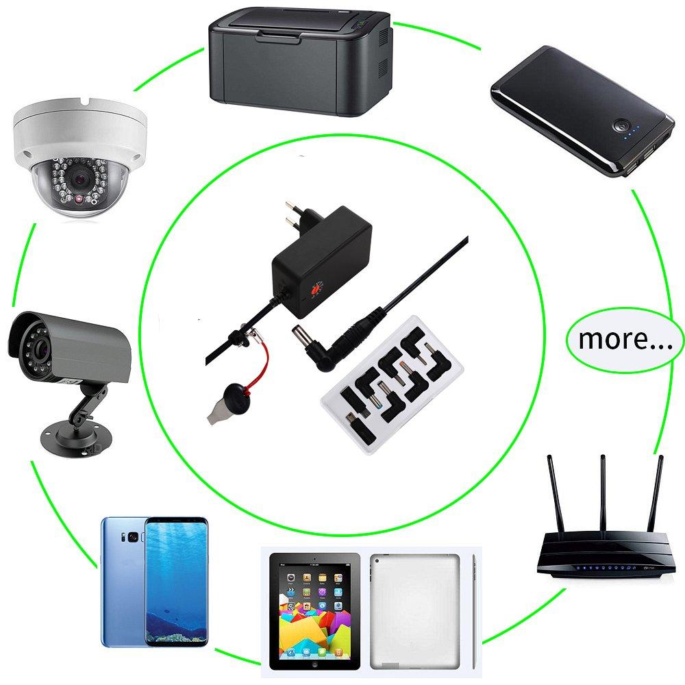 Basic Kameras und mehr LED-Streifen Router-Lautsprecher DEYF 18W AC DC Universal Ladeger/ät Adapter 3V 4,5V 5V 6V 7,5V 9V 12V Multi-Netzteil mit 6 Austauschbare Spitzen f/ür Tablet-PC