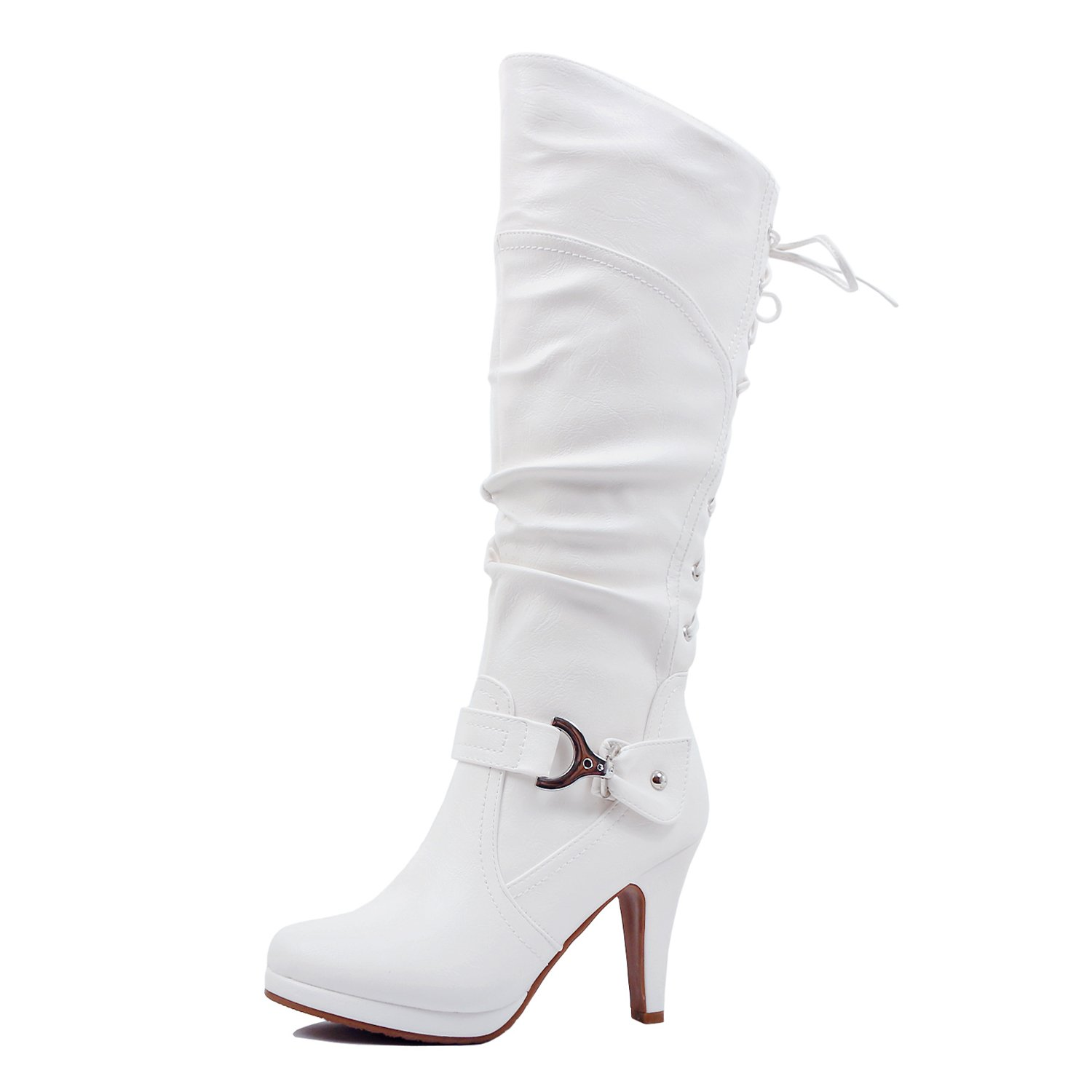 Guilty Heart   Womens Sexy Fitted Knee High Stretchy High Heel Riding Boots (7.5 B(M) US, Whitev1 Pu)