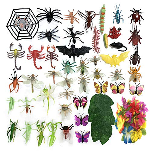 DOITEM 80 Pack Plastic Insect Figures Toys Assorted Insect Bugs Include Multicolored Lifelike Butterfly Small monstera leaves Rose leaves for Children Education, Insect Themed Party, Halloween Toys an ()