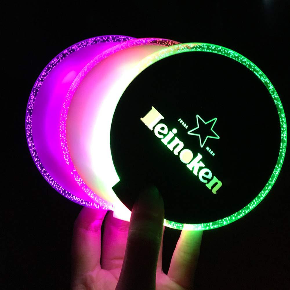 GIRLXV Acrílico Redondo Led Light Coaster Bar Universal Resalte ...