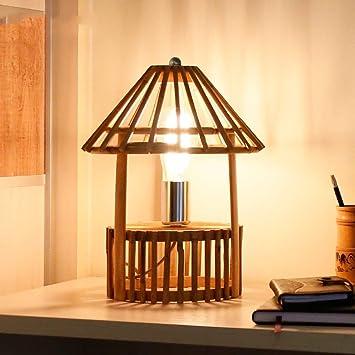 YUHUS Home Lámpara de Mesa de bambú Creativa Hecha a ...