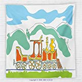 59 x 59 Inches Steam Engine Fleece Throw Blanket Colorful Small Old Train in Country Retro Kids Art Vintage Cartoon Print Blanket