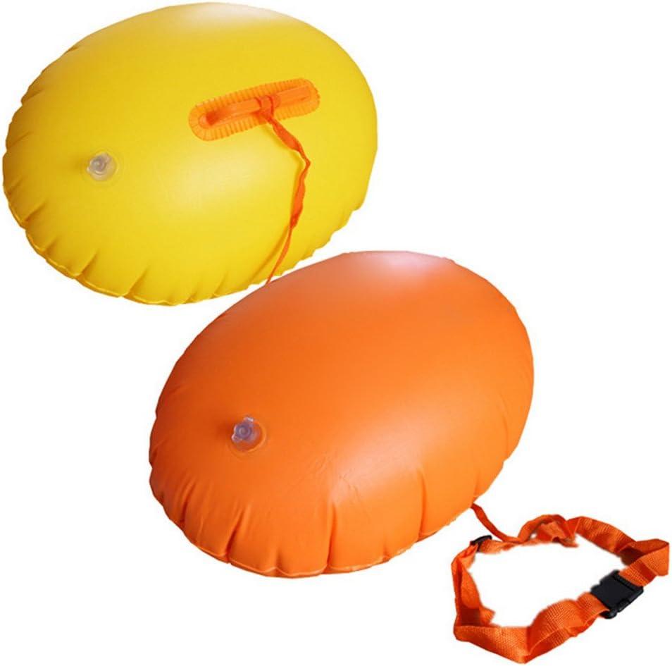 Schnorcheln Gelb + Orange Training und Triathleten 40 * 50cm Wankd 2 St/ücke Aufblasbare Schwimmboje Swim Boje Schwimmen Sicherheits Floss Trockene Tasche f/ür Openwater Schwimmer Kayakers