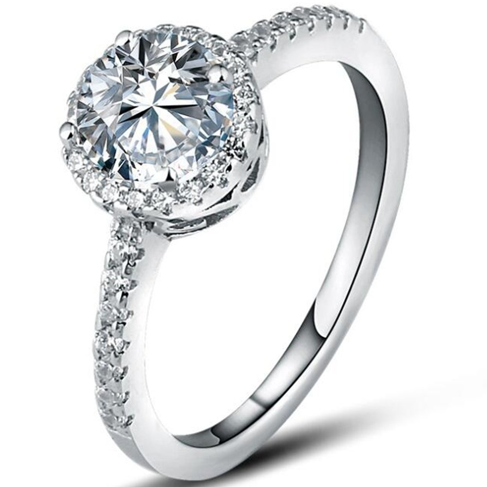 925 Sterling Silver 2.0 Carat Solitaire CZ Diamond Wedding Engagement Ring (4)
